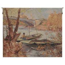 Van Gogh's Fishing in the Spring European Tapestry Wall Hanging