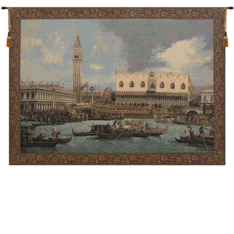 Bucintoro at the Dock Italian Tapestry Wall Hanging