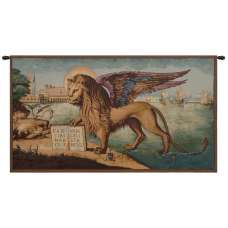 Lion Arrives in Venice Italian Tapestry Wall Hanging