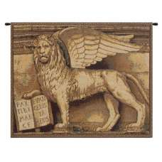 Lion with Books Italian Tapestry Wall Hanging