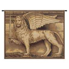 Lion with Sword Italian Tapestry Wall Hanging