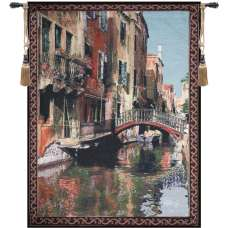 Canal with Reflections Fine Art Tapestry