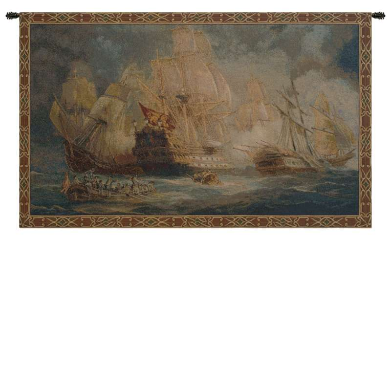 Naval Battle Italian Tapestry Wall Hanging