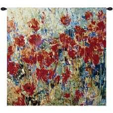 Red Poppy Field II Fine Art Tapestry