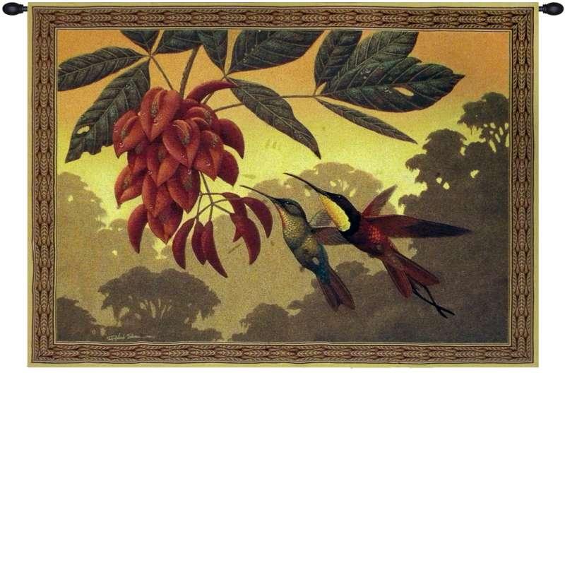 Hummingbird Flower Kissers Tapestry Wall Art