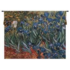 Irises in Garden Belgian Tapestry Wall Hanging
