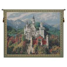 Neuschwanstein Castle Blue Belgian Tapestry Wall Hanging