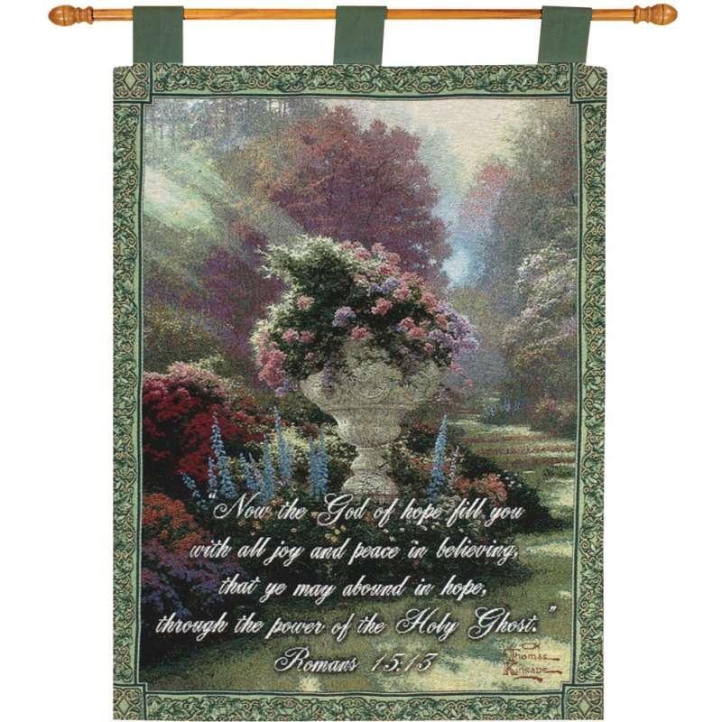 Garden of Hope w/Verse  by Kinkade Fine Art Tapestry