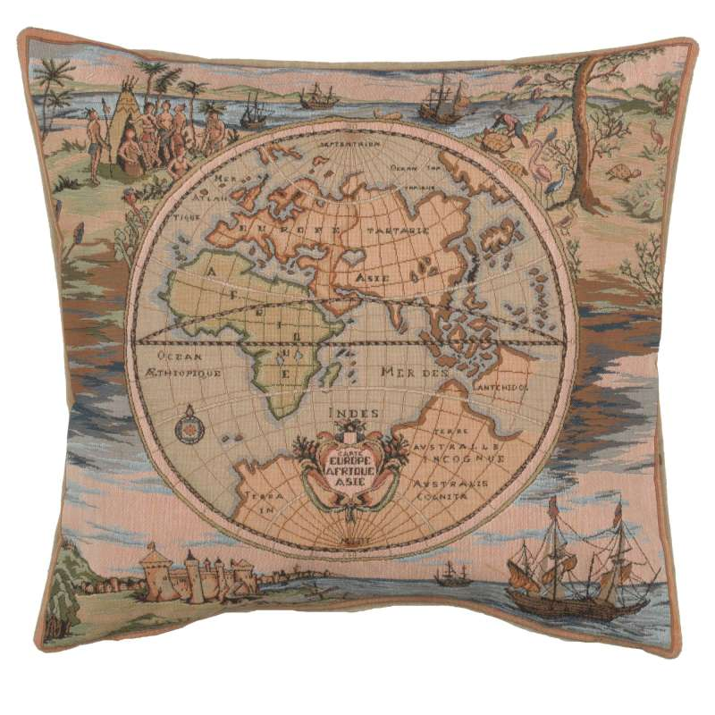 Map of the World Europe Asia Africa French Tapestry Cushion