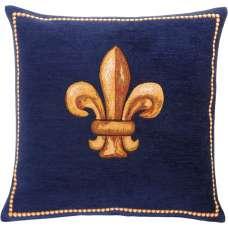 Fleurs De Lys Bleu French Tapestry Cushion