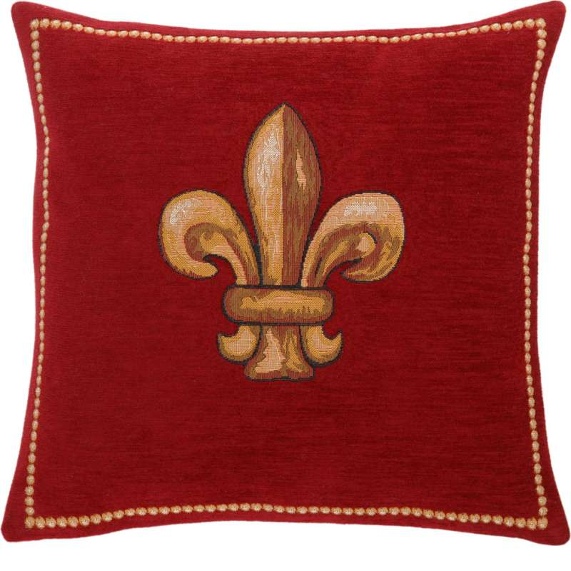 Fleurs De Lys Rouge  French Tapestry Cushion