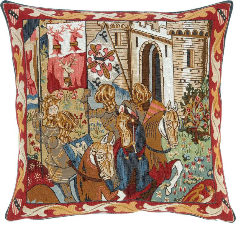 Tournoi Des Chevaliers French Tapestry Cushion