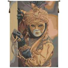 Mask on the Foreground Italian Tapestry Wall Hanging