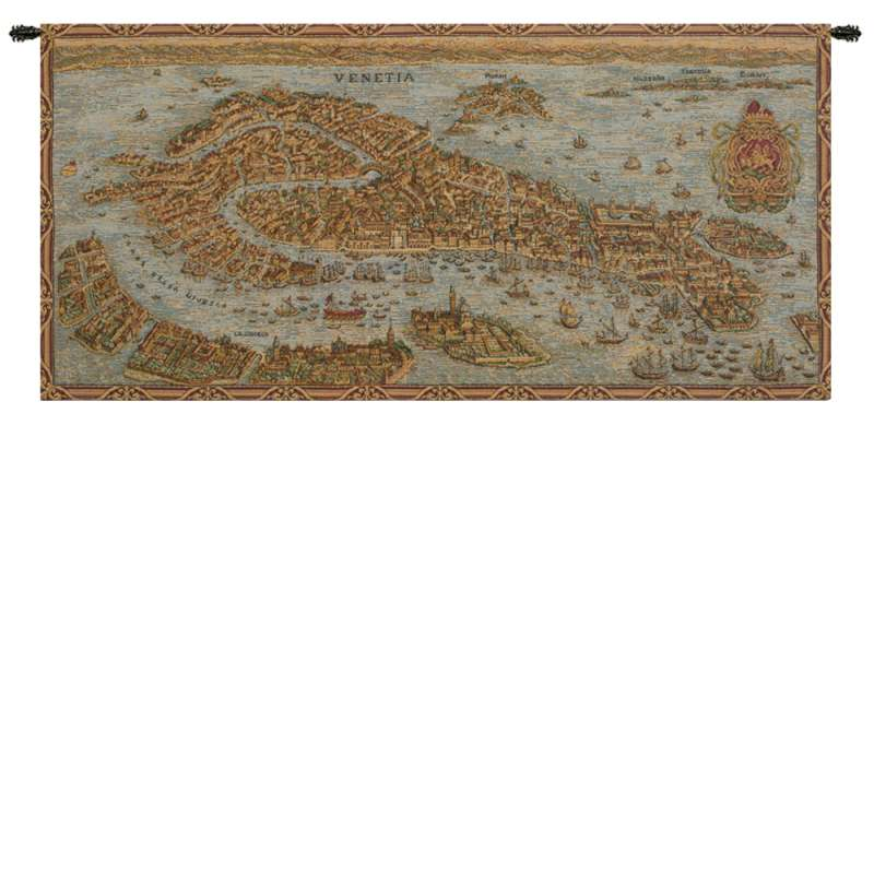 Ancient Map of Venice Horizontal Italian Tapestry Wall Hanging