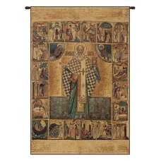 Saint Nicholas with Lurex Italian Tapestry Wall Hanging