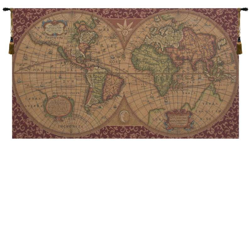 Old Map of the World Red European Tapestries
