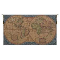 Old Map of the World Blue European Tapestries