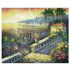 Beach House at Sunset Canvas Wall Art