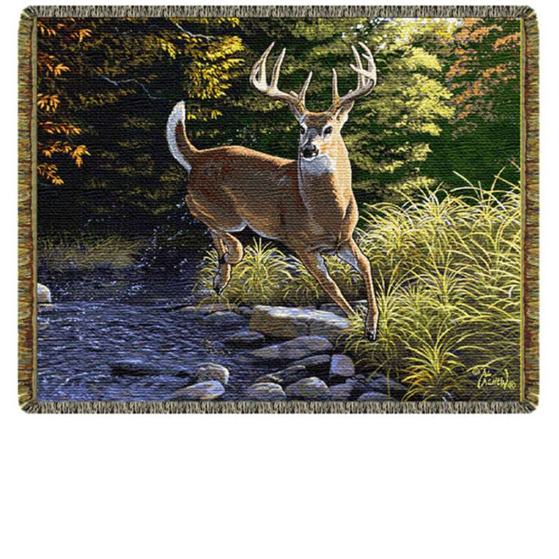 Fall Buck Tapestry Throw