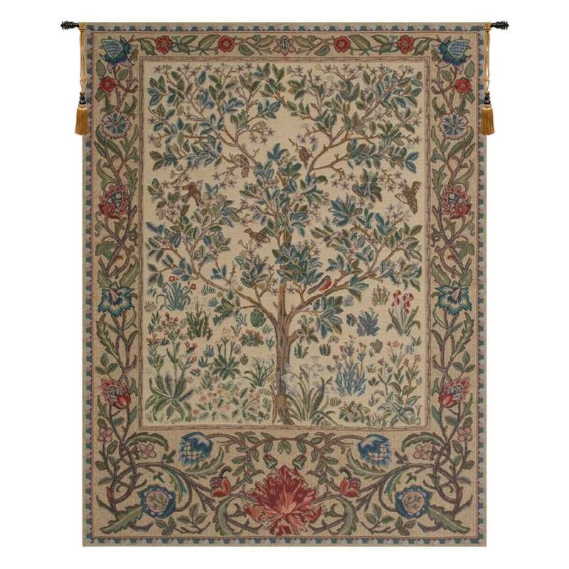The Tree of Life Beige Belgian Tapestry