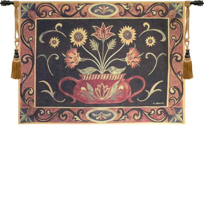 Folk Art Potted Flowers Tapestry Wall Art