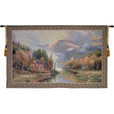 Misty Mountain Cabins Tapestry Wall Art