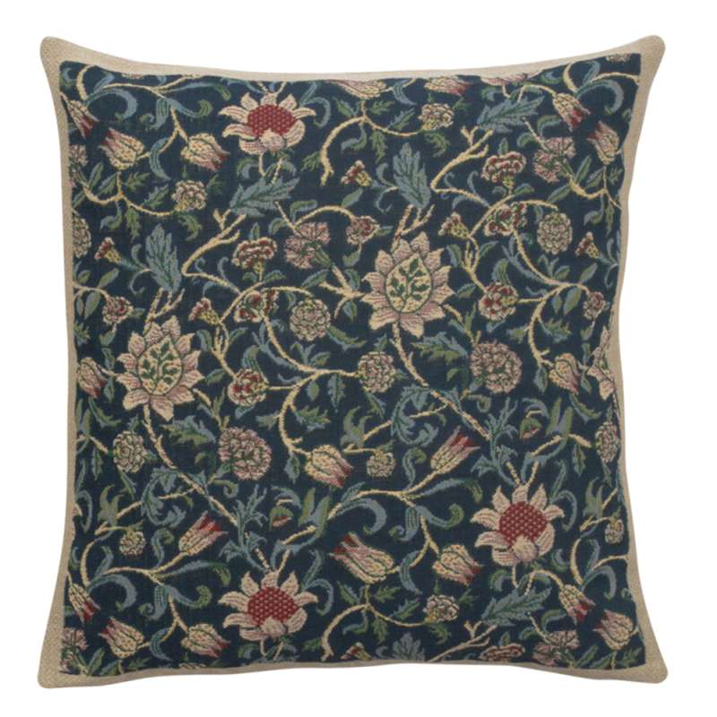 Fleurs de Morris Blue Belgian Cushion Cover