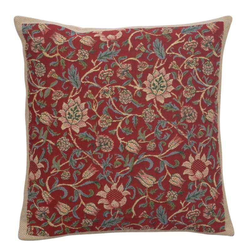 Fleurs de Morris Red Belgian Cushion Cover