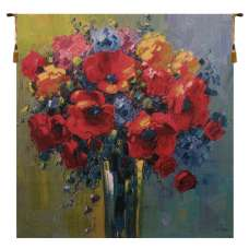 Poppy Bouquet by Pejman Belgian Tapestry Wall Hanging