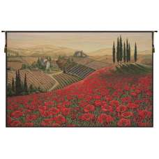 Tuscan Poppy Landscape Italian Tapestry Wall Hanging