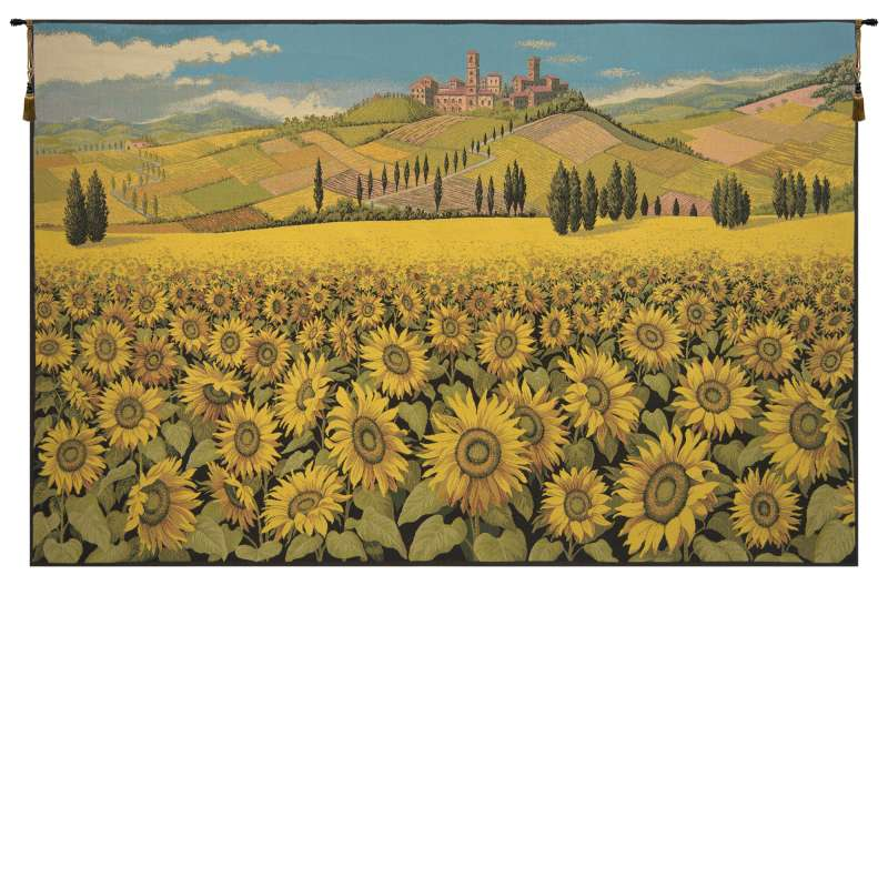 Tuscan Sunflower Landscape Italian Tapestry Wall Hanging