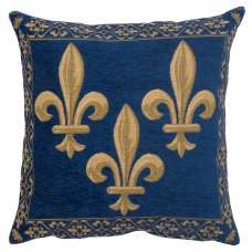 Fleur de Lys Blue II Velvet Background European Cushion Cover