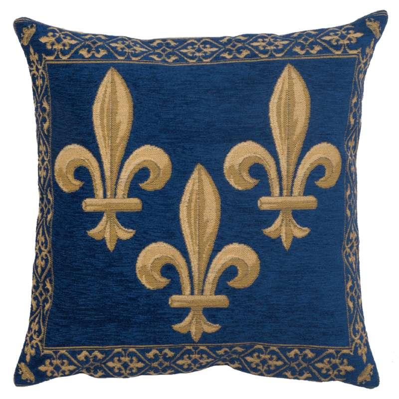 Fleur de Lys Blue II Velvet Background European Cushion Cover