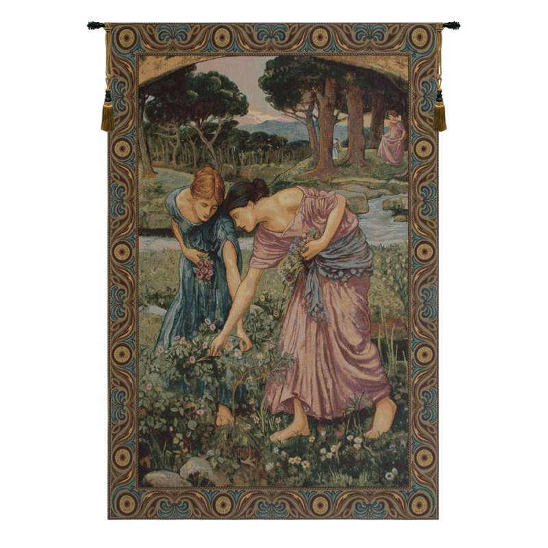 Gathering Rose Buds Italian Tapestry Wall Hanging