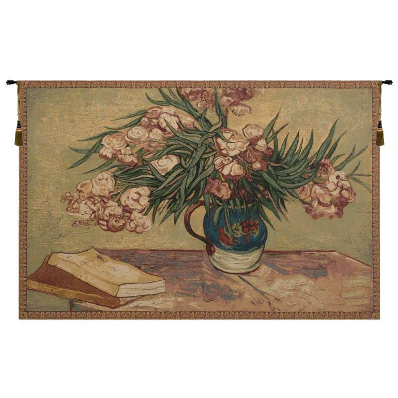 Oleanders and Books Italian Tapestry Wall Hanging