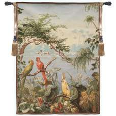 Perroquets et Flamants Roses  French Tapestry Wall Hanging