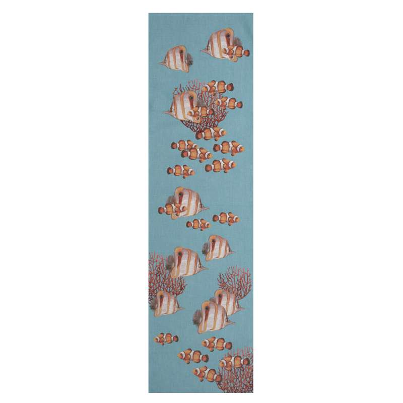Exotic Fish Blue French Tapestry Table Runner
