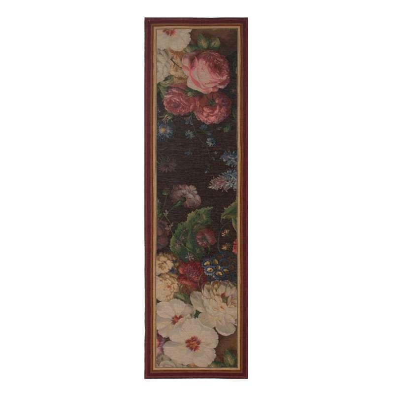 Flowers Dark  French Tapestry Table Runner