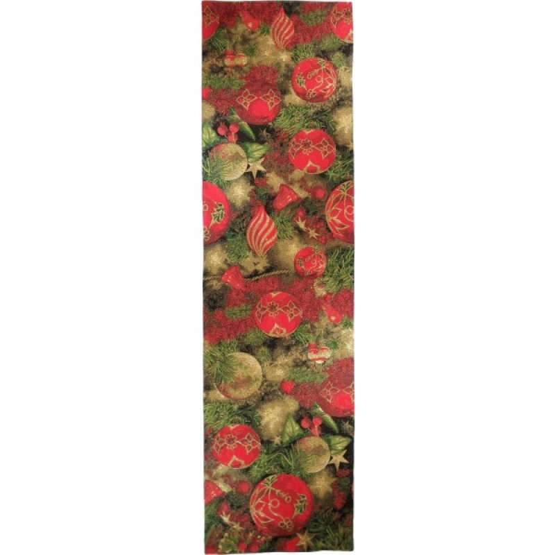 Christmas Ornament Red  French Tapestry Table Runner