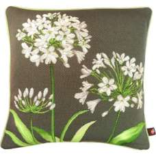 Agapanthus 3 Flowers Grey  Decorative Tapestry Pillow