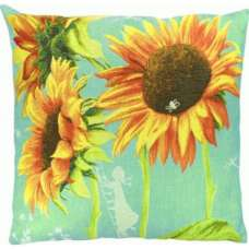 Big sunflowers French Tapestry Cushion