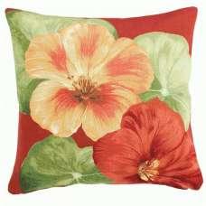 Nasturtium 2 Red  French Tapestry Cushion