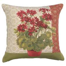Geranium 1 Red French Tapestry Cushion