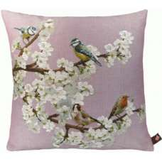 Passerines On Branch Pink  French Tapestry Cushion