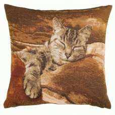 Sleeping Cat Brown 1 French Tapestry Cushion