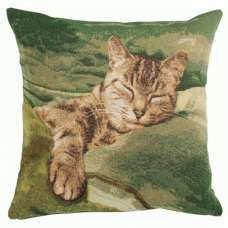 Sleeping Cat Green 1 French Tapestry Cushion