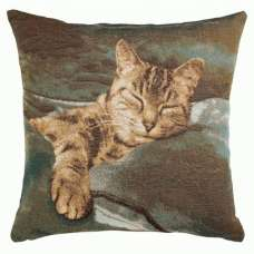 Sleeping Cat Blue 1 French Tapestry Cushion
