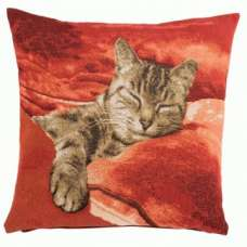 Sleeping Cat Red 1 French Tapestry Cushion