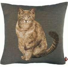 Tabby Cat Sitting Dark Grey French Tapestry Cushion