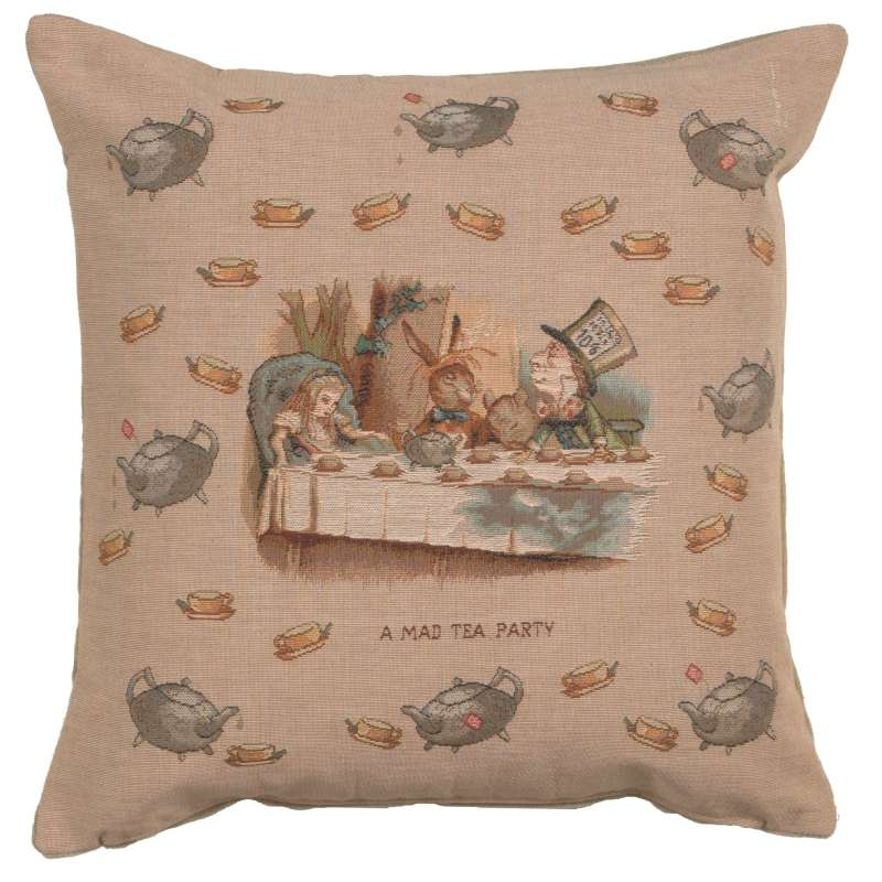 The Tea Party Alice In Wonderland French Tapestry Cushion